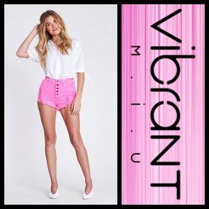 Vibrant M.I.U. Neon Pink High Rise Denim Shorts